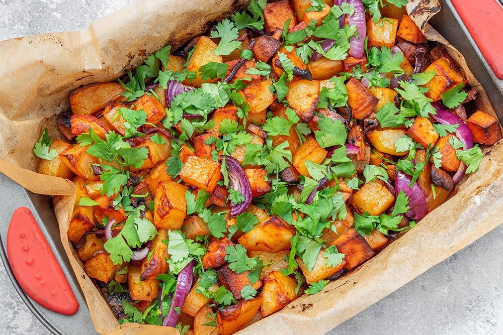קדירת תפוחי אדמה עם טופו ופטריות