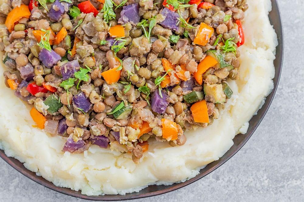 תבשיל עדשים ומש טבעוני ללא גלוטן