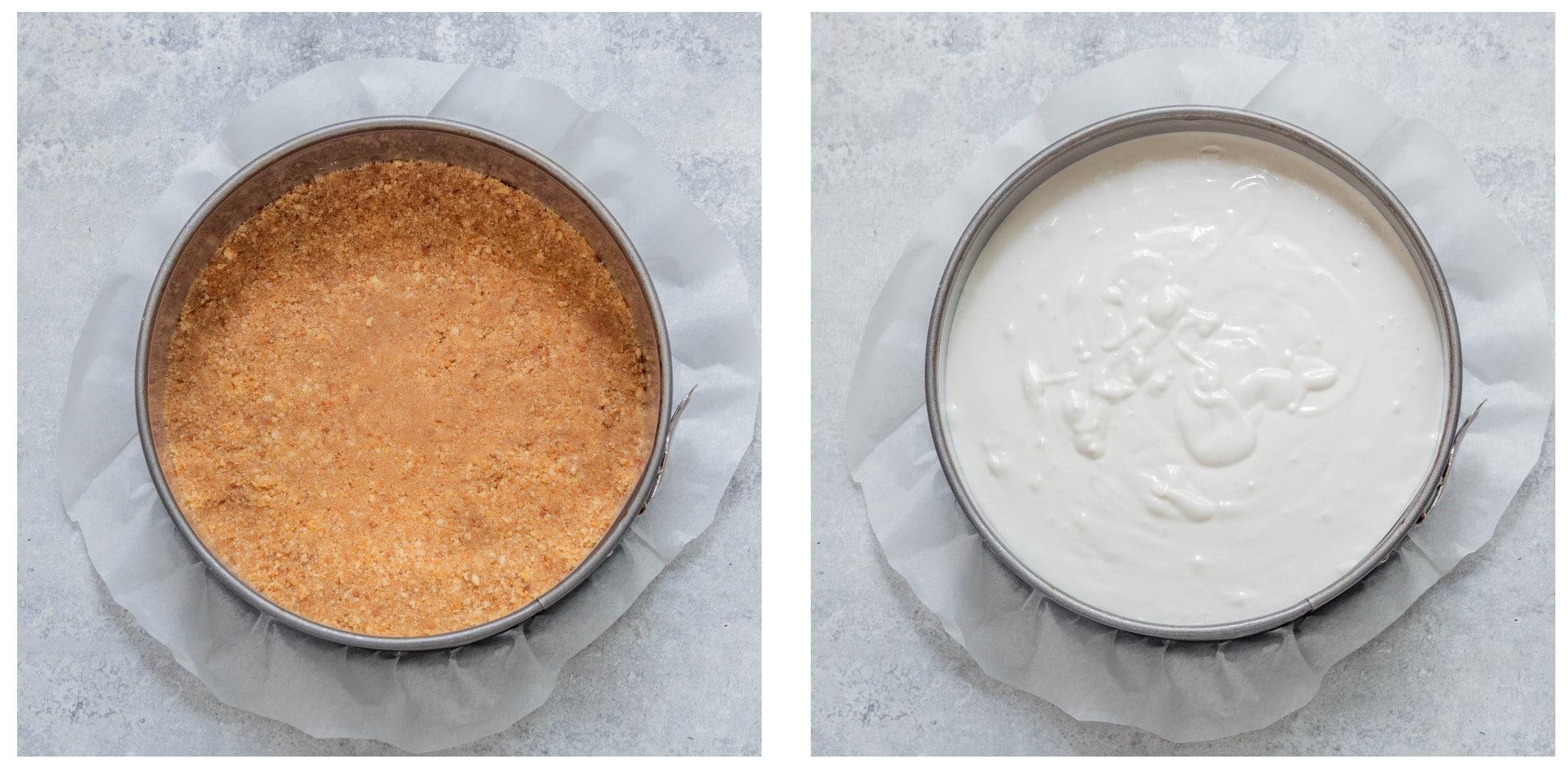 עוגת גבינה טבעונית קרה ללא תוספת סוכר