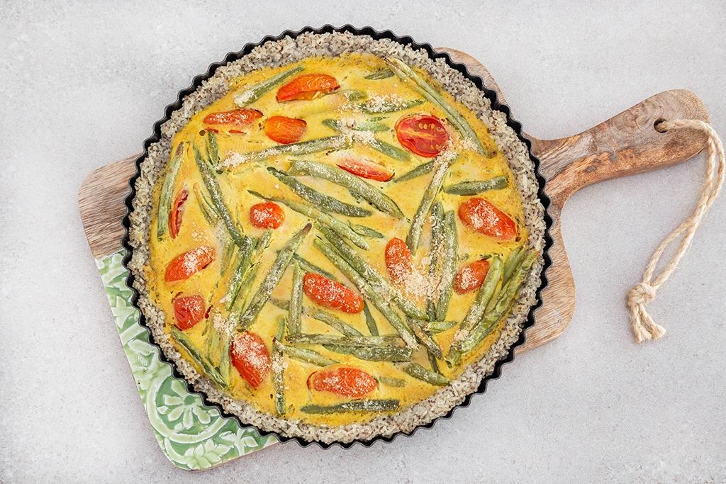 קיש אורז טבעוני ללא גלוטן עם טופו וירקות